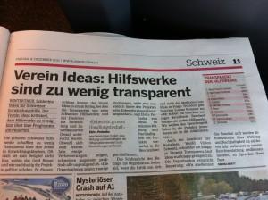 Artikel 20min Transparenz Hilfswerke